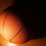 Close up of basketball in shadow